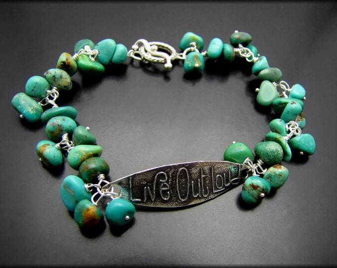 LIVE OUT LOUD ~ Turquoise Nugget, Sterling Silver Bracelet