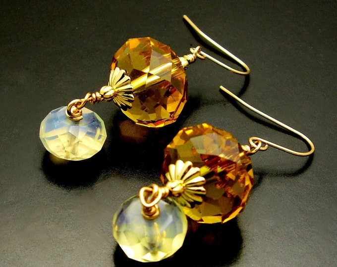 MORE HARMONY ~ Faceted Quartz, 14kt Gold Fill Earrings