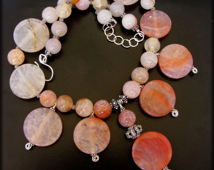 APRICOT NECTUR ~ Bold Crackle Agate Sterling Silver Necklace