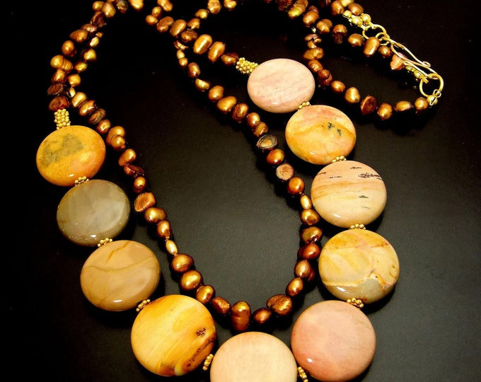 SCORCHED EARTH ~ African Jasper, Bronze  Pearls, GF Necklace