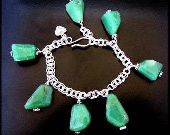 LEAVES OF GREEN ~ Chunky Apple Green Chrysoprase Sterling Silver Bracelet