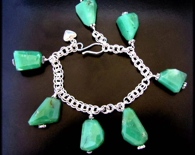 LEAVES OF GREEN ~ Chunky Apple Green Chrysoprase Sterling Silver Bracelet