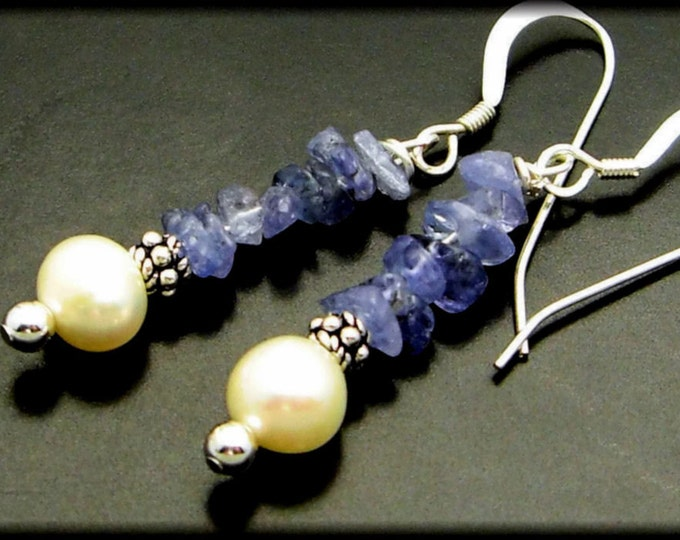 PURPLE HAZE ~ Tanzanite, Freshwater Pearl Sterling Silver Earrings