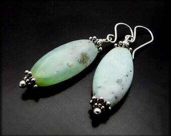 LITTLE BREEZE ~ Mint Green Chrysoprase, Sterling Silver Earrings