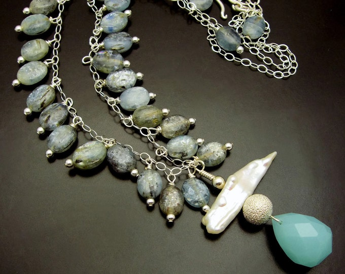 BLUE RIVER STONES ~  Kyanite, Biwa Pearl, Aqua Chalcedony, Sterling  Necklace