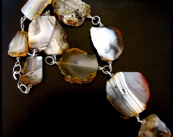 FIVE SMOOTH STONES ~ Agate Chalcedony, Silver Necklace