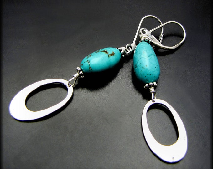 DROPS OF BLUE ~ Arizona Turquoise, Sterling Silver Drop Earrings