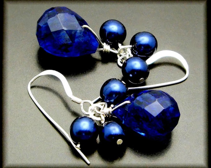 FRESH BLUEBERRIES ~ Sapphire Blue Quartz, Freshwater Pearl Sterling Earrings