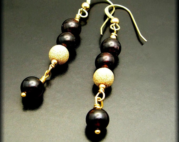 STARDUST ~ Garnets, 14kt Gold Fill Earrings