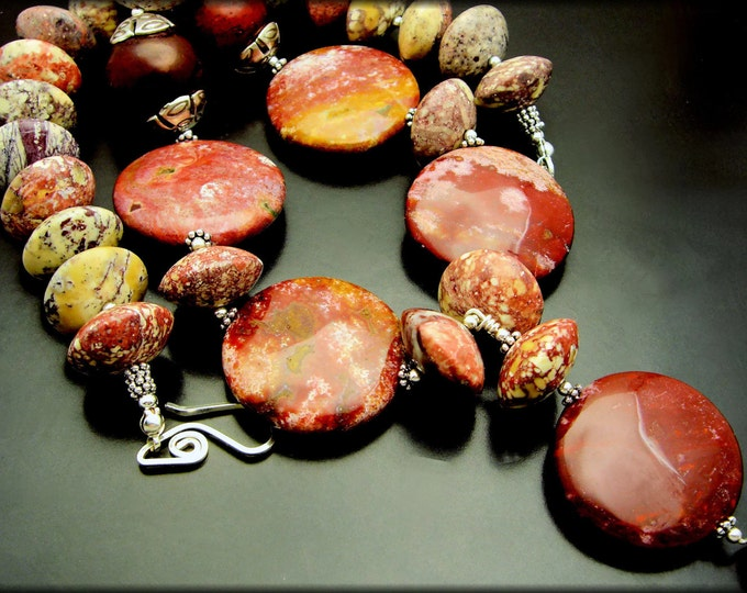 MOODY'S MOOD ~ Bold Variegated Red Jasper, Black Cherry Jade, Sterlng Silver Necklace