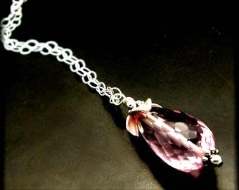EVANGELINE ~ Pink Quartz,  Sterling Silver Necklace