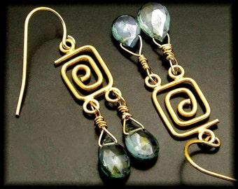 GOING MY WAY ~ Green Amethyst 14kt Gold Fill Earrings