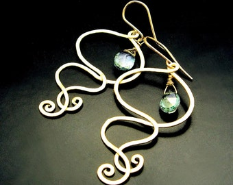 INFINITY ~ Green Mystic Topaz, 14kt Gold Fill Spiral Earrings