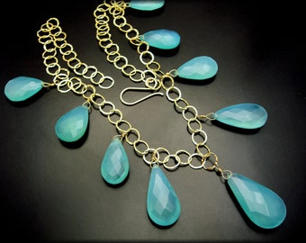 CLEO'S JEWELS  ~ Sea Blue Chalcedony, 14kt Gold Fill Necklace Set