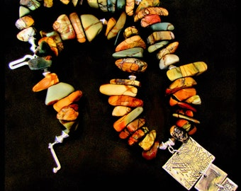 BROKEN PATH ~ Bold Red Creek Jasper Sterling Silver Necklace