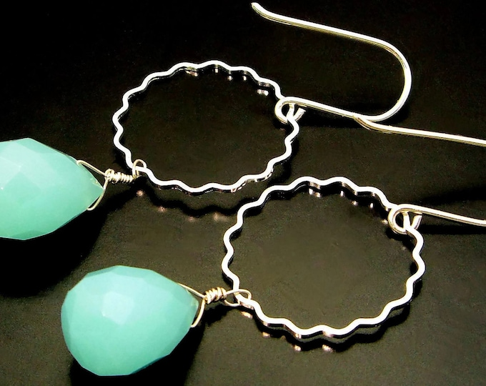 LIGHTNESS OF BEING ~  Aqua Blue Chalcedony, Sterling  Earrings