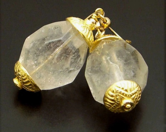 GOLD NEEDLE ~  Rock Quartz 14kt Gold Fill Earrings