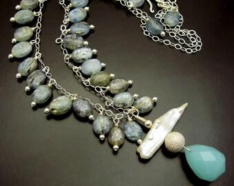 BLUE RIVER STONES ~  Kyanite, Biwa Pearl, Aqua Chalcedony, Sterling  Necklace