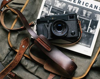 Handmade Leather Camera Strap: Camera strap for Digital and Film Cameras - Horween Chromexcel | Hand stitched