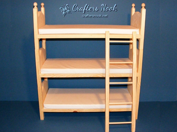 American Girl Bed Wooden Doll Bed Stackable Triple Bunk Bed Etsy