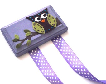Hair Clip Holder - Owl with Purple Background - FREE US SHIPPING