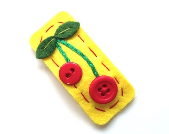 Cherry Hair Clip - Your Choice of Colors - FREE US SHIPPING