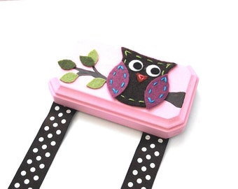 Owl Hair Clip Holder - Pink and Brown