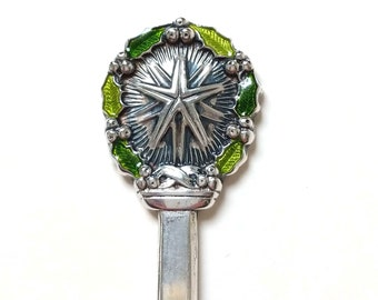 1971 Christmas Spoon with Star Gorham Sterling, Vintage Enamel Christmas Spoon, Vintage Holiday Tableware, Souvenir Spoon
