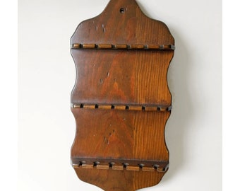 Wood Spoon Rack for Souvenir Spoons Holds 18 Spoons 14 inches tall x 7 inches wide, Vintage Dark Brown Rustic Spoon Holder Wall Hanging