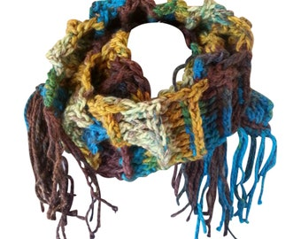 Unisex Crochet Scarf, Chunky Scarf.  long Fringe Scarf, Colorful Scarf, Unique Scarf,  Man Scarf. Gifts for Him