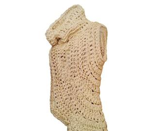 Crochet Cowl, crochet vest,  Cowl, Gifts for her, Unique Cowl, Shrug,  Asymmetrical Wrap