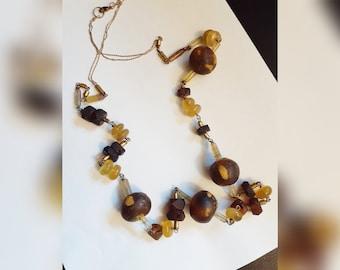 Amber Necklace Goldtone