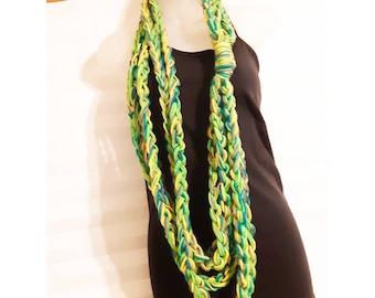 Crochet Infinity Scarf, chain scarf, fashion scarf for her, bobo flair