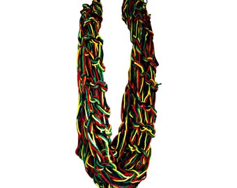Arm Knitted Scarf, Knitted Scarf, Rasta Scarf,  Colorful Scarf Knitted, Infinity Scarf, Circle