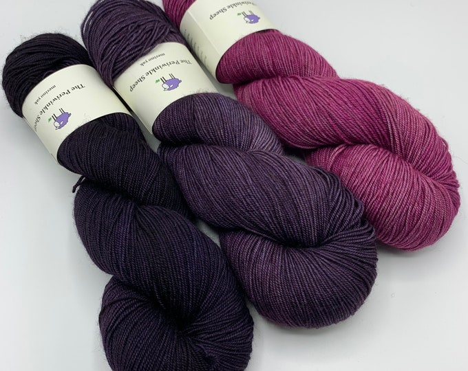 merino yak - set of three - new day, new purple; elderberry; orchid