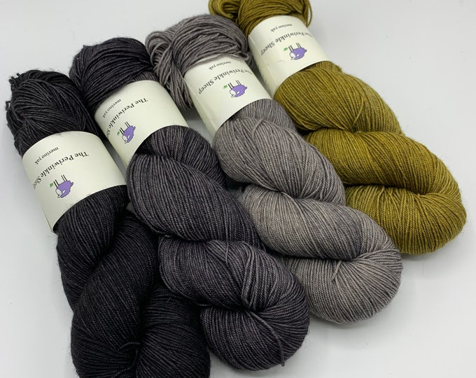 merino yak - set of 4 skeins - the witch's cauldron, slate, clearing, gold rush