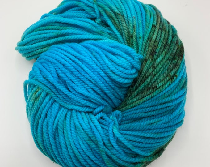 merino chunky - OOAK turquoise, teal, with speckles
