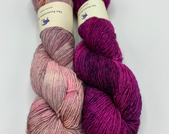 set of 2 skeins - merino single in fuchsia, speckles no. 33