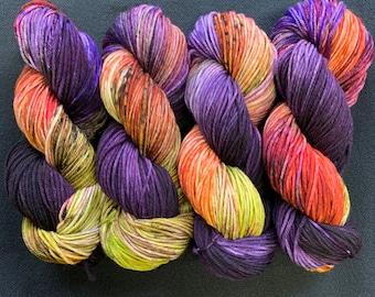 merino worsted - multi with purple