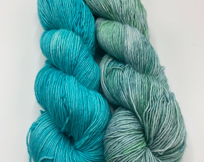shawl set - sparkly merino single in wellspring / merino single in OOAK turquoise