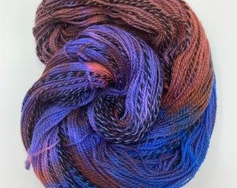 highland wool fingering - cobalt, rust, coral