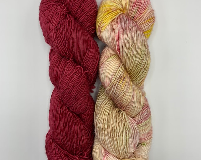 set of 2 skeins - merino single - summer dress, rhubarb
