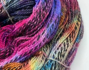 highland wool fingering - copper/blue/fuchsia OOAK