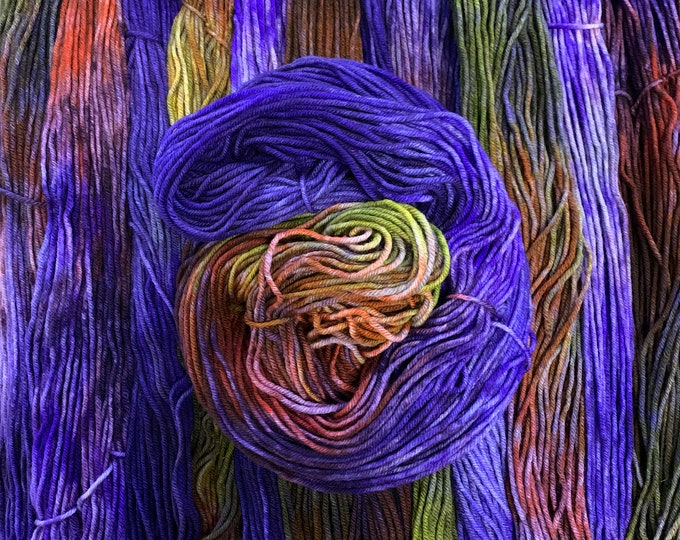 merino worsted - OOAK multicolor with cobalt blue