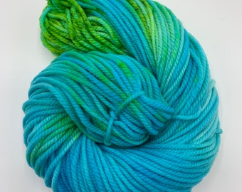 merino chunky - OOAK turquoise with lime green