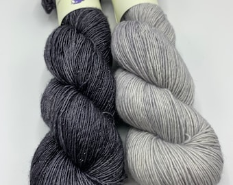 set of 2 skeins - sparkly merino single in Ghost of Molly, slate