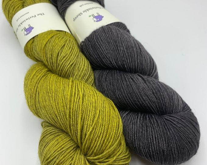 shawl set - merino yak - canary, slate