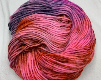 OOAK merino worsted - pink, orange, purple