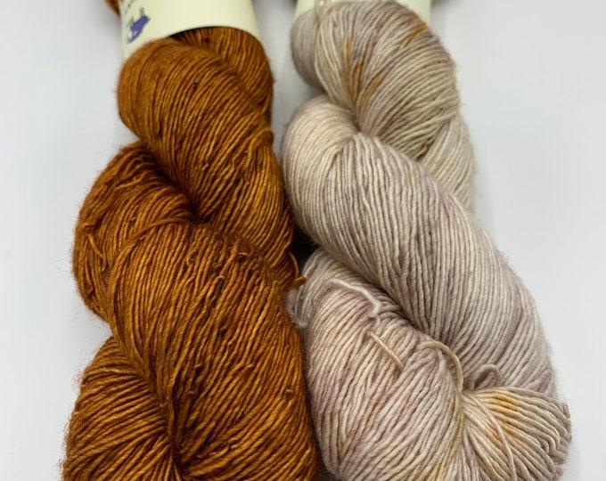 set of 2 skeins - merino single in copper pipe, speckles no. 36