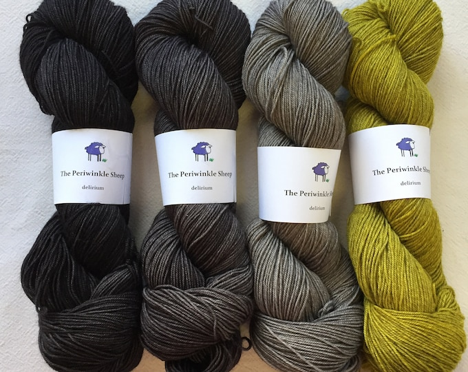 delirium - set of 4 skeins - the witch's cauldron, slate, clearing, canary